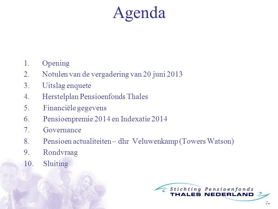2.2. Agenda 1.Opening 2.Notulen van de vergadering van 20 juni 2013 3.Uitslag enquete 4.Herstelplan Pensioenfonds Thales 5. Financiële gegevens 6. Pen