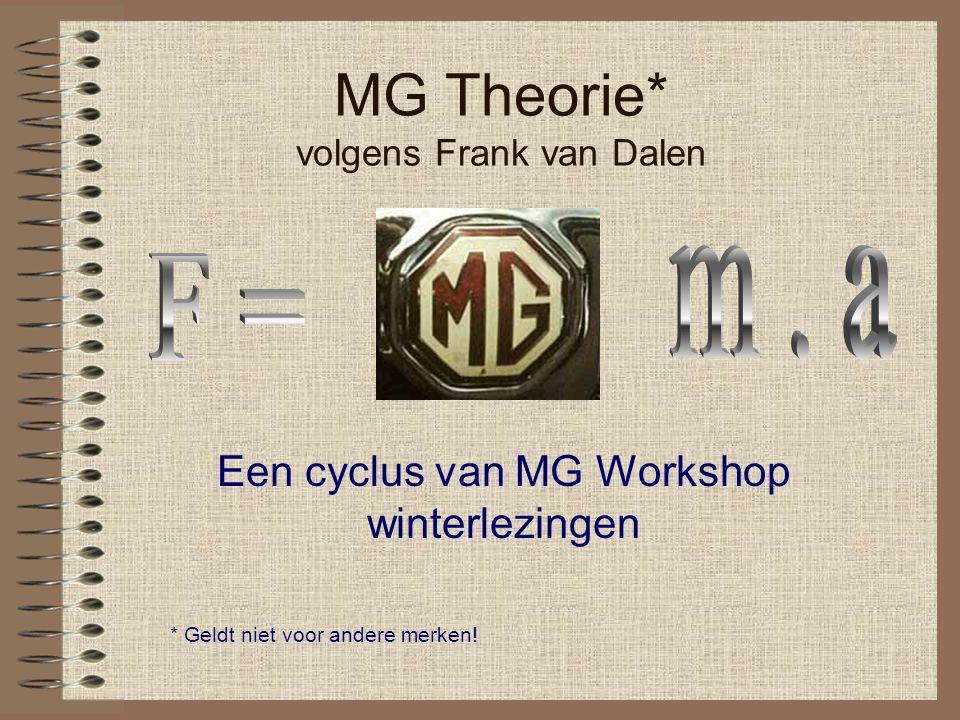 MG Theorie* volgens Frank van Dalen Een cyclus van MG Workshop winterlezingen * Geldt niet voor andere merken!