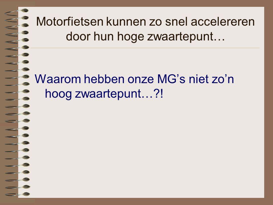 Motorfietsen kunnen zo snel accelereren door hun hoge zwaartepunt… Waarom hebben onze MG's niet zo'n hoog zwaartepunt…?!