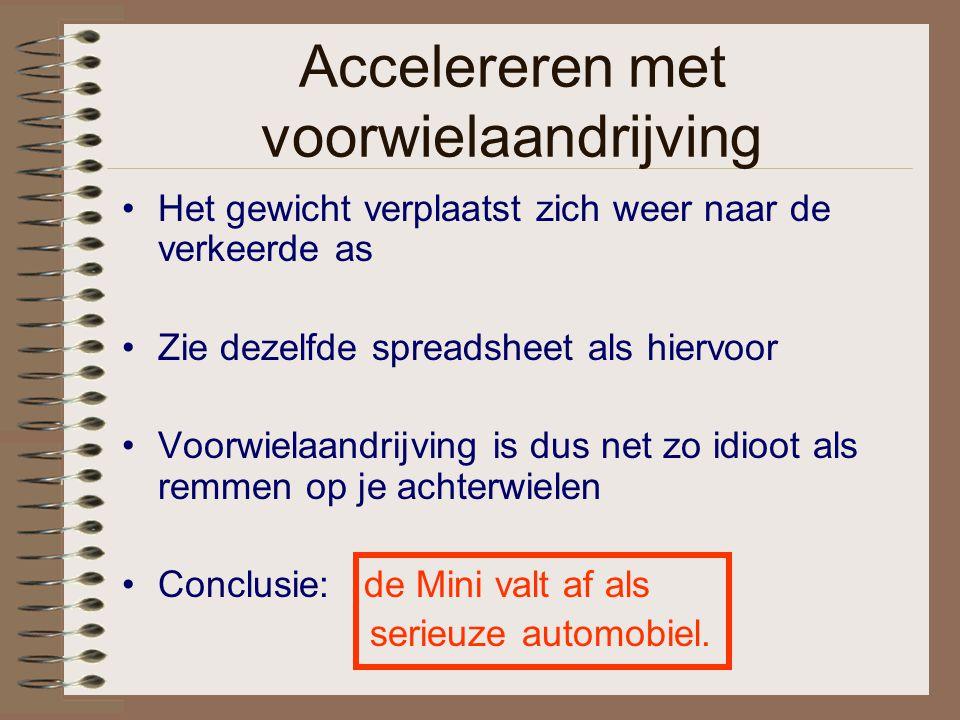 Accelereren met voorwielaandrijving Het gewicht verplaatst zich weer naar de verkeerde as Zie dezelfde spreadsheet als hiervoor Voorwielaandrijving is dus net zo idioot als remmen op je achterwielen Conclusie: de Mini valt af als serieuze automobiel.