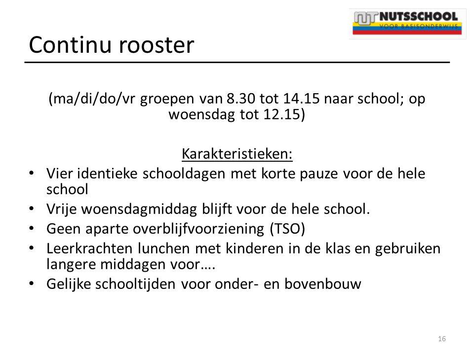 Continu rooster (ma/di/do/vr groepen van 8.30 tot 14.15 naar school; op woensdag tot 12.15) Karakteristieken: Vier identieke schooldagen met korte pau