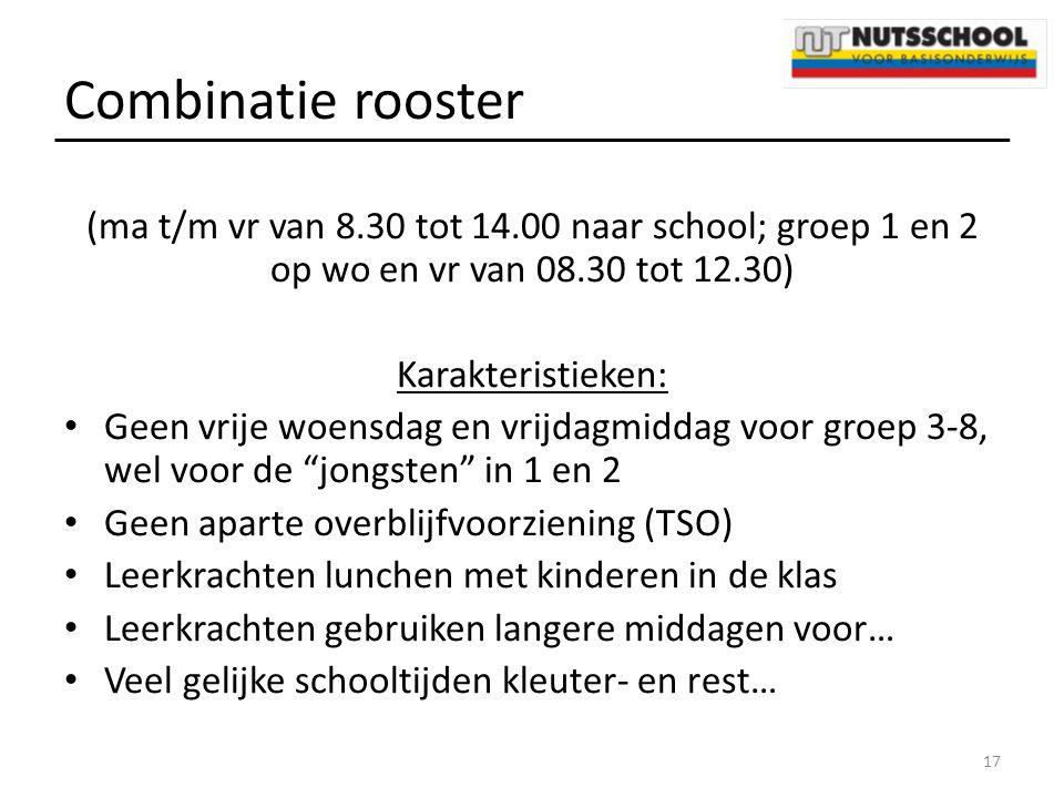 Combinatie rooster (ma t/m vr van 8.30 tot 14.00 naar school; groep 1 en 2 op wo en vr van 08.30 tot 12.30) Karakteristieken: Geen vrije woensdag en v