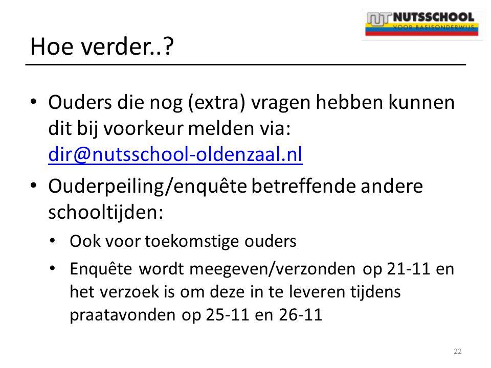 Hoe verder..? Ouders die nog (extra) vragen hebben kunnen dit bij voorkeur melden via: dir@nutsschool-oldenzaal.nl dir@nutsschool-oldenzaal.nl Ouderpe