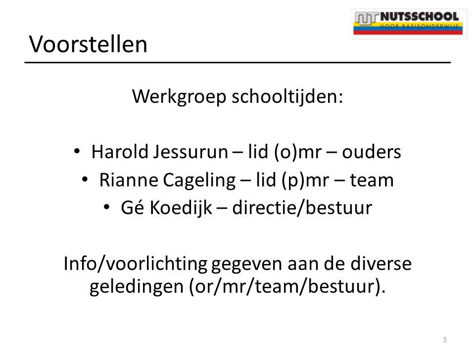 Voorstellen Werkgroep schooltijden: Harold Jessurun – lid (o)mr – ouders Rianne Cageling – lid (p)mr – team Gé Koedijk – directie/bestuur Info/voorlic