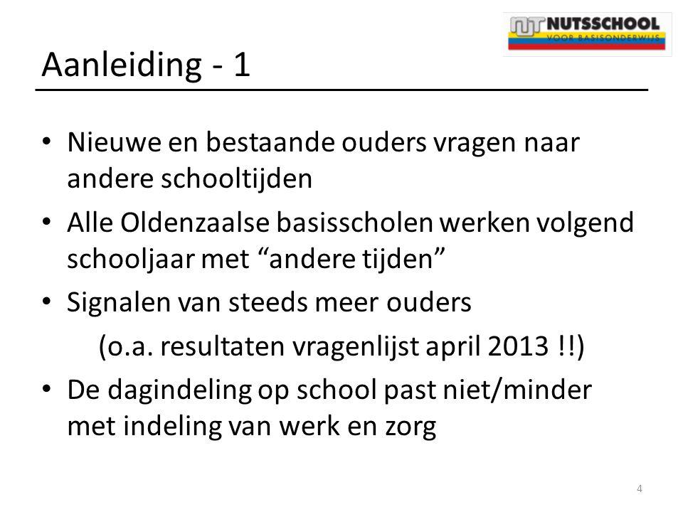 """Aanleiding - 1 Nieuwe en bestaande ouders vragen naar andere schooltijden Alle Oldenzaalse basisscholen werken volgend schooljaar met """"andere tijden"""""""
