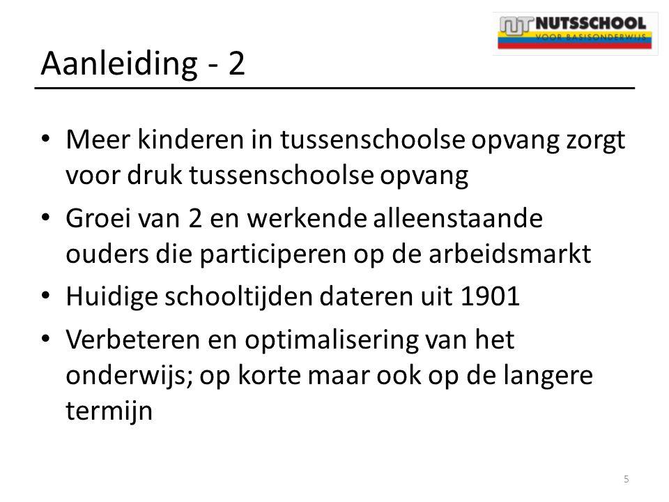 Aanleiding - 2 Meer kinderen in tussenschoolse opvang zorgt voor druk tussenschoolse opvang Groei van 2 en werkende alleenstaande ouders die participe