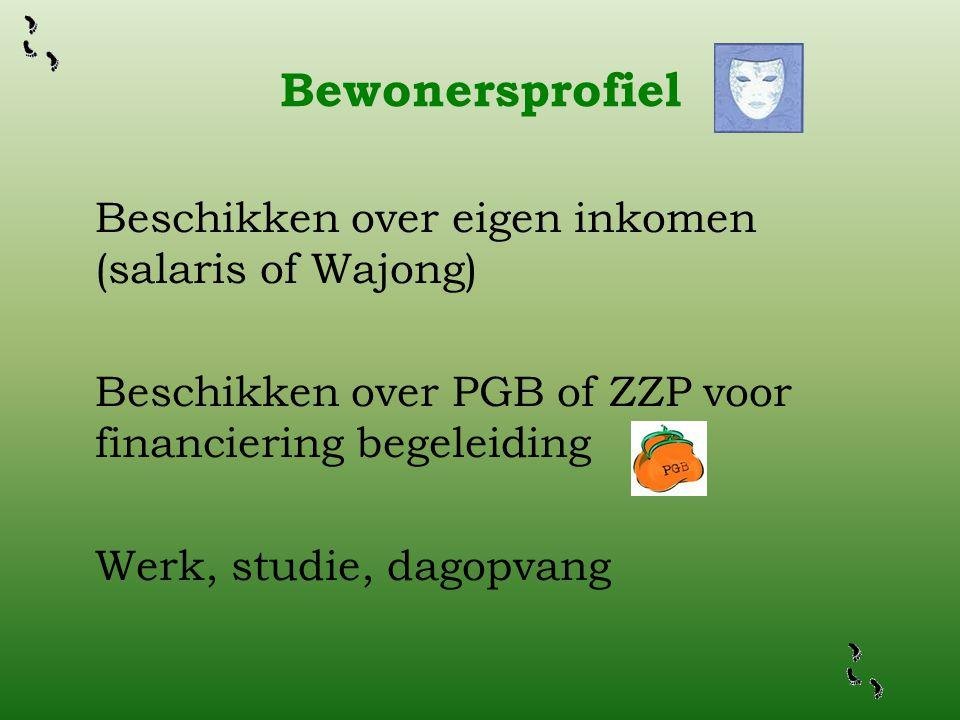 Bewonersprofiel Beschikken over eigen inkomen (salaris of Wajong) Beschikken over PGB of ZZP voor financiering begeleiding Werk, studie, dagopvang