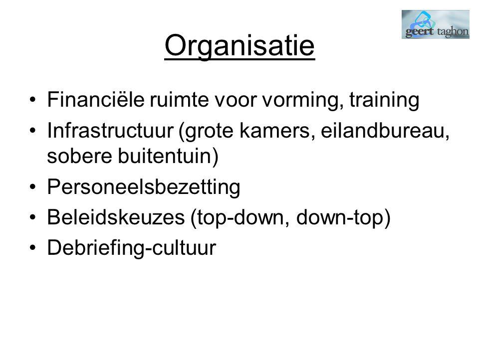 Organisatie Financiële ruimte voor vorming, training Infrastructuur (grote kamers, eilandbureau, sobere buitentuin) Personeelsbezetting Beleidskeuzes (top-down, down-top) Debriefing-cultuur