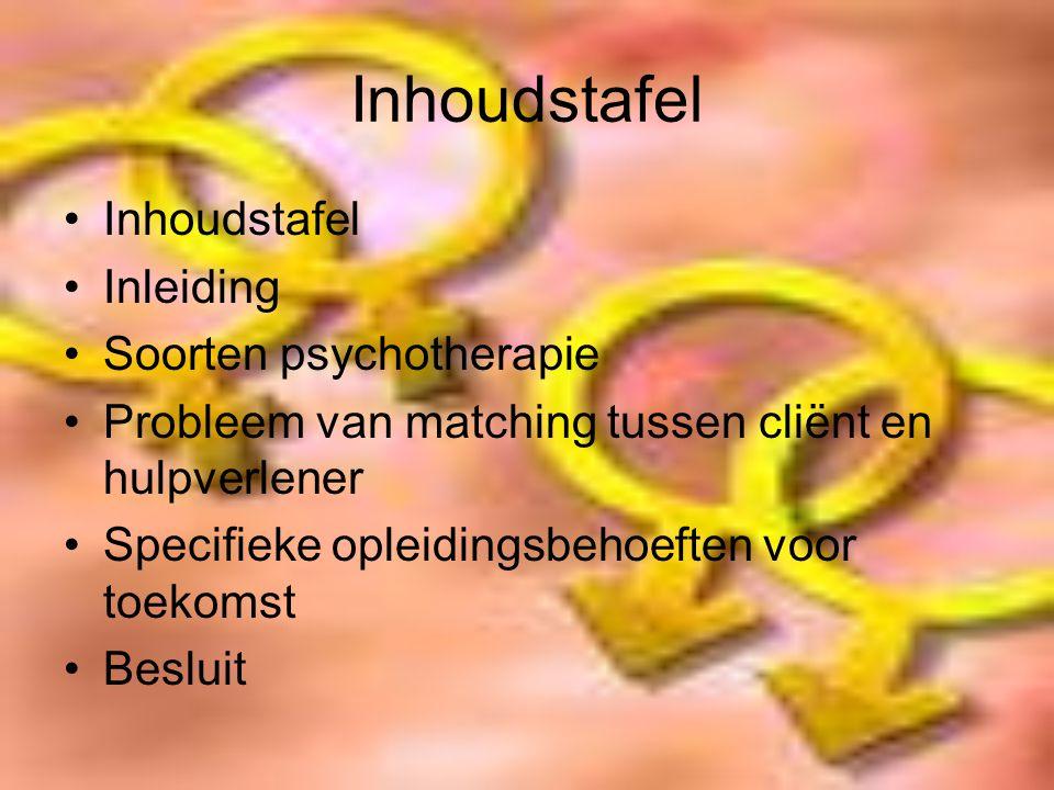 Inhoudstafel Inleiding Soorten psychotherapie Probleem van matching tussen cliënt en hulpverlener Specifieke opleidingsbehoeften voor toekomst Besluit