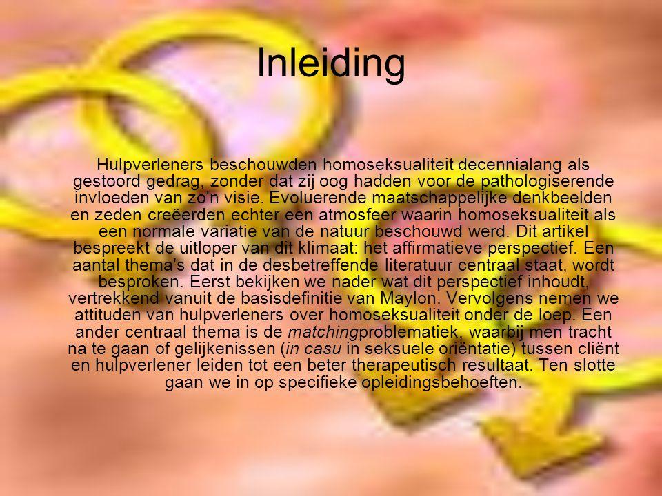 Inleiding Hulpverleners beschouwden homoseksualiteit decennialang als gestoord gedrag, zonder dat zij oog hadden voor de pathologiserende invloeden van zo n visie.