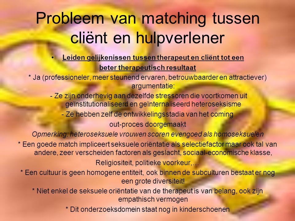 Probleem van matching tussen cliënt en hulpverlener Leiden gelijkenissen tussen therapeut en cliënt tot een beter therapeutisch resultaat * Ja (profes