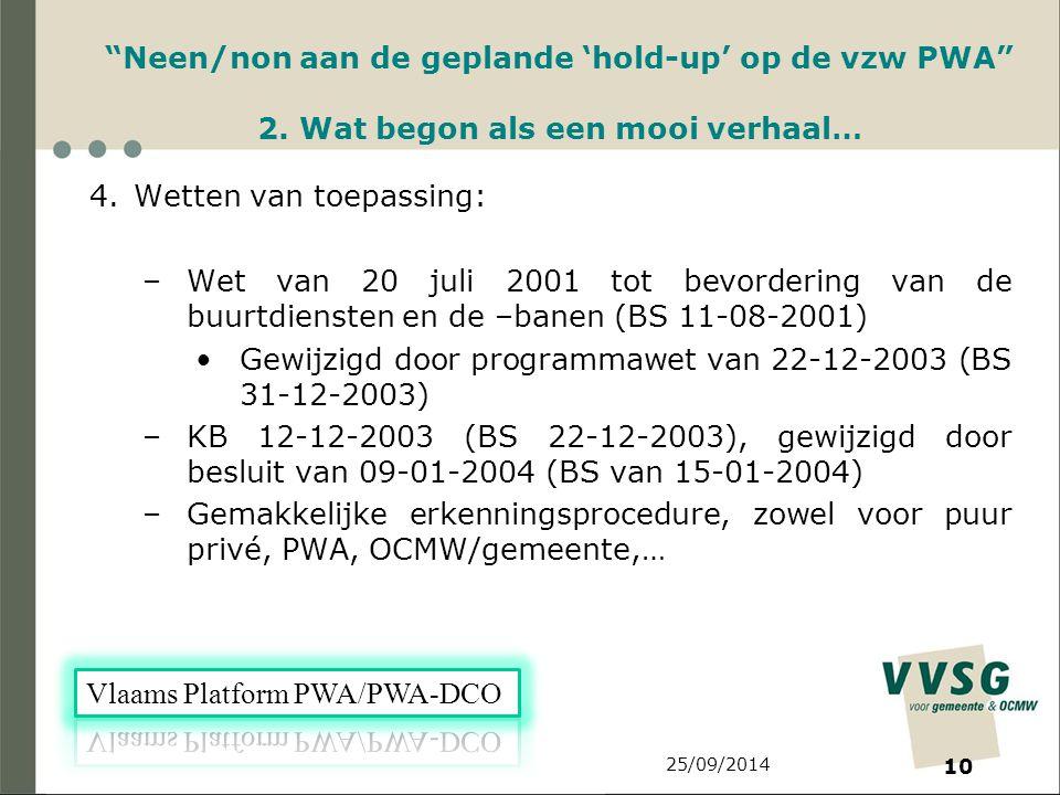 25/09/2014 10 Neen/non aan de geplande 'hold-up' op de vzw PWA 2.