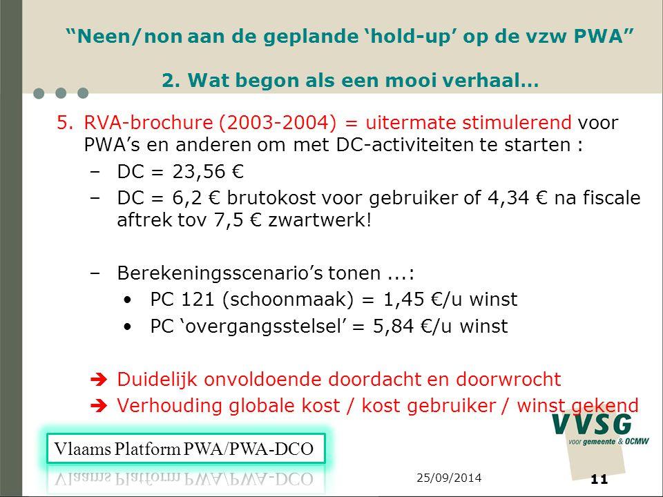 25/09/2014 11 Neen/non aan de geplande 'hold-up' op de vzw PWA 2.