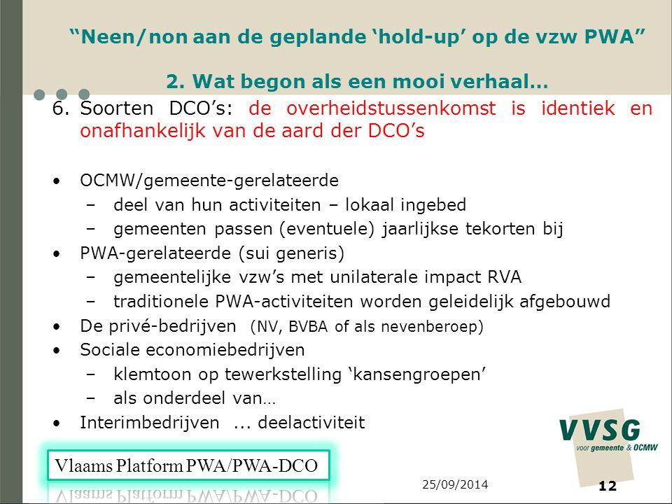 25/09/2014 12 Neen/non aan de geplande 'hold-up' op de vzw PWA 2.