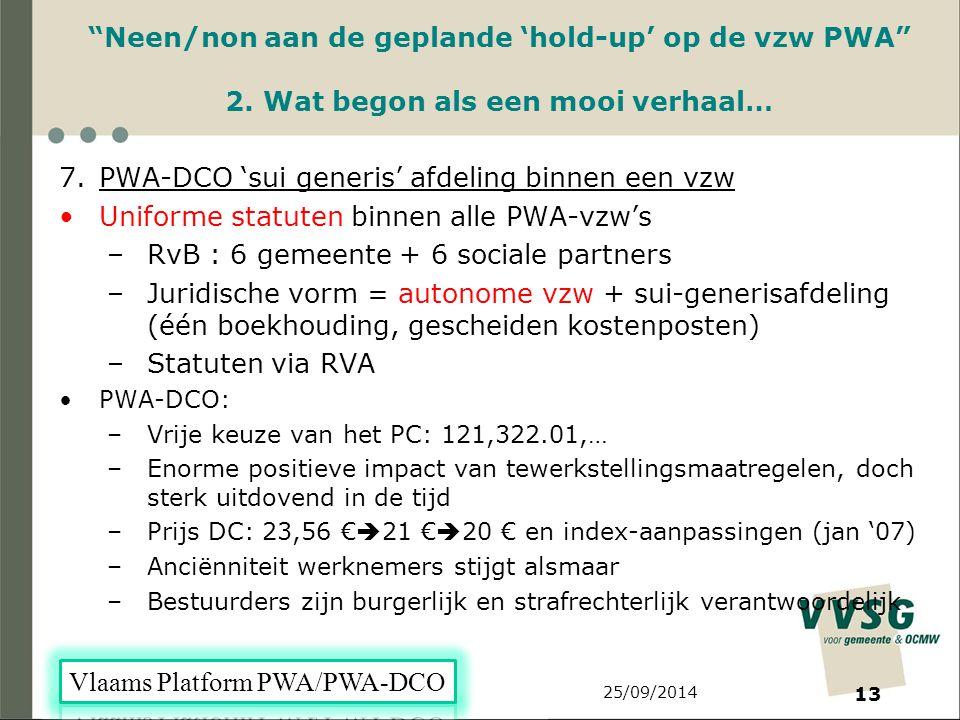 25/09/2014 13 Neen/non aan de geplande 'hold-up' op de vzw PWA 2.