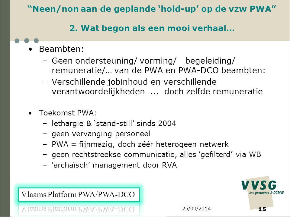 25/09/2014 15 Neen/non aan de geplande 'hold-up' op de vzw PWA 2.