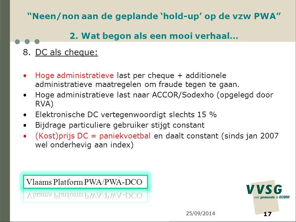 25/09/2014 17 Neen/non aan de geplande 'hold-up' op de vzw PWA 2.