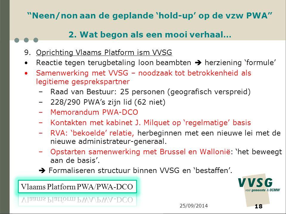 25/09/2014 18 Neen/non aan de geplande 'hold-up' op de vzw PWA 2.
