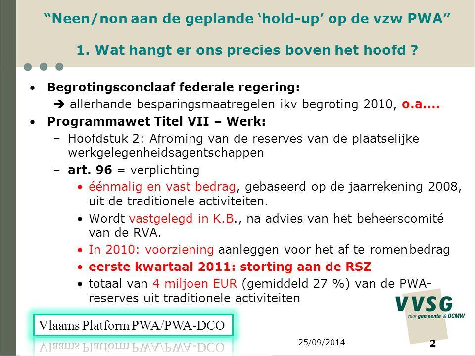 2 Neen/non aan de geplande 'hold-up' op de vzw PWA 1.