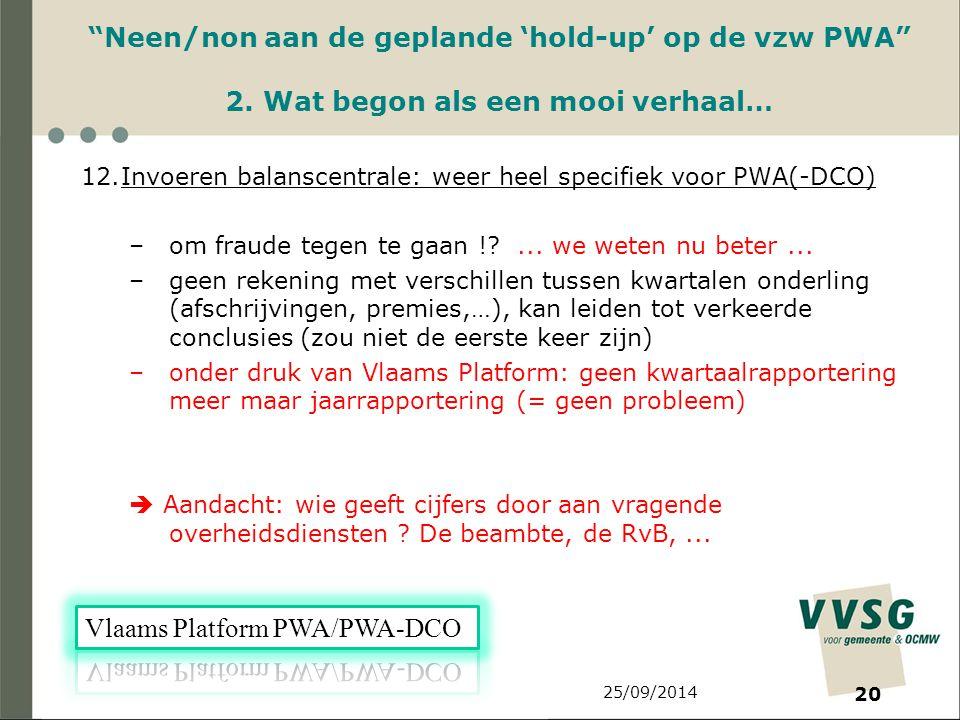 25/09/2014 20 Neen/non aan de geplande 'hold-up' op de vzw PWA 2.