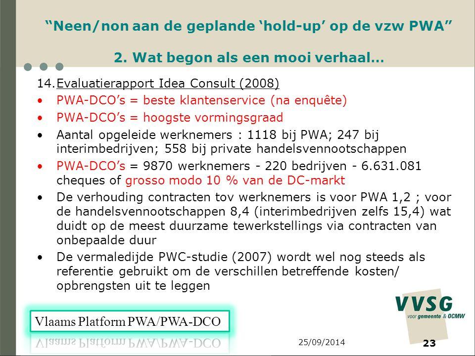 25/09/2014 23 Neen/non aan de geplande 'hold-up' op de vzw PWA 2.