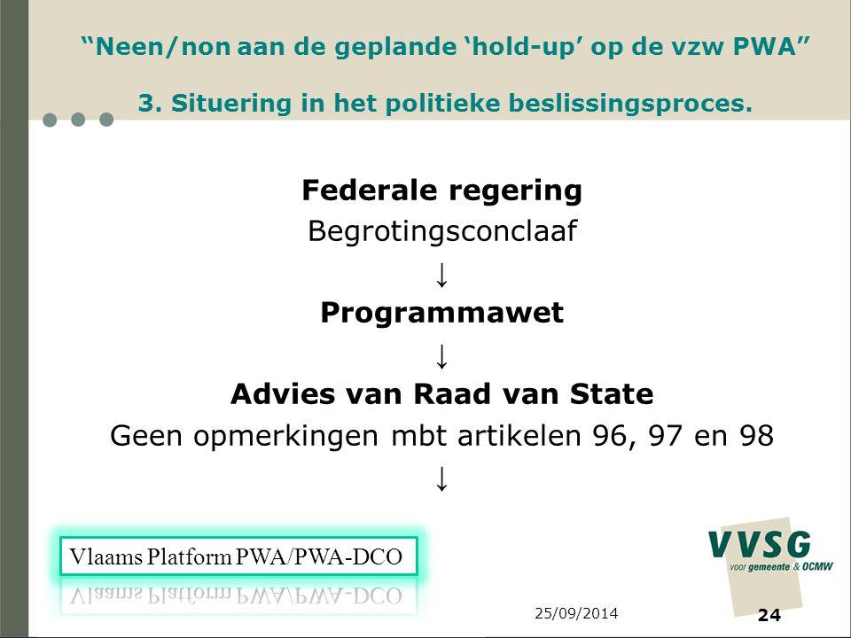 25/09/2014 24 Neen/non aan de geplande 'hold-up' op de vzw PWA 3.