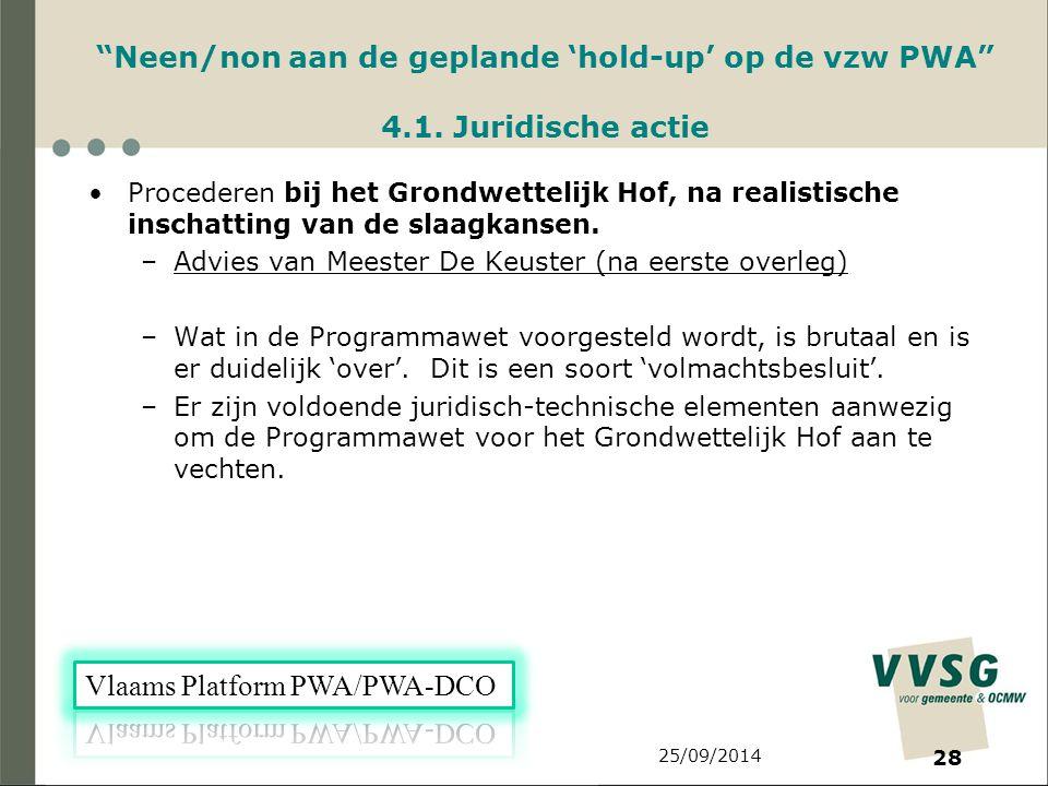 25/09/2014 28 Neen/non aan de geplande 'hold-up' op de vzw PWA 4.1.