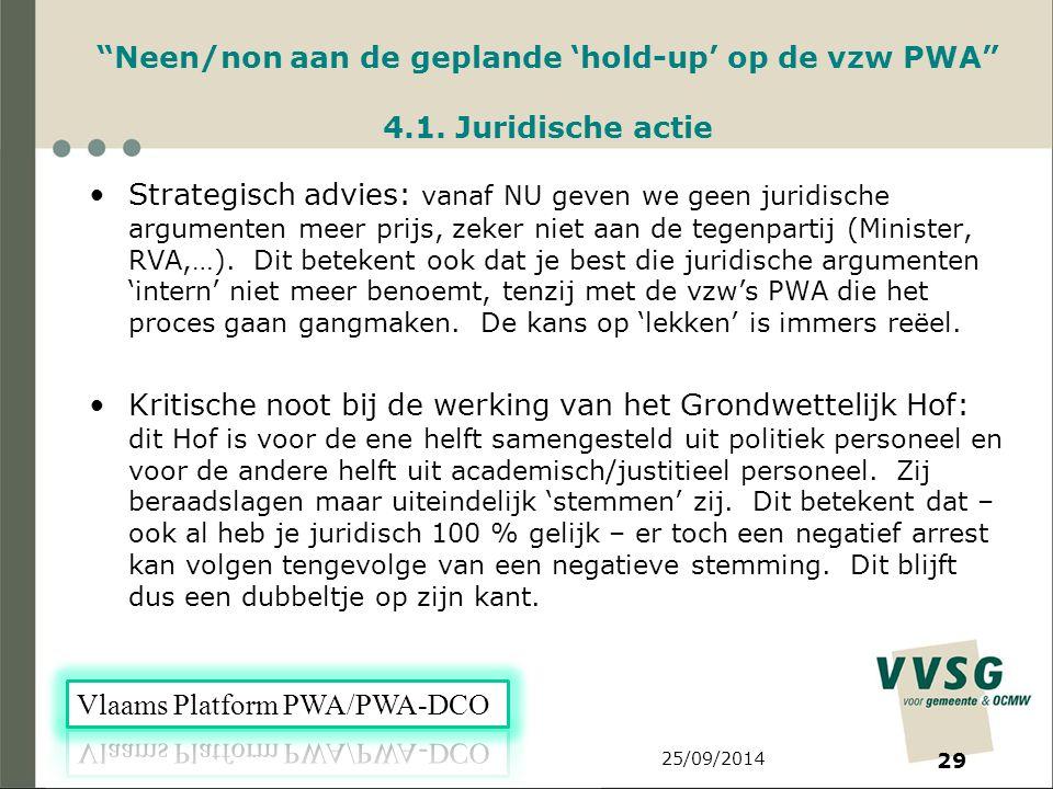 25/09/2014 29 Neen/non aan de geplande 'hold-up' op de vzw PWA 4.1.