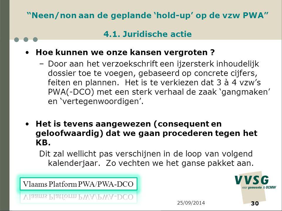 25/09/2014 30 Neen/non aan de geplande 'hold-up' op de vzw PWA 4.1.