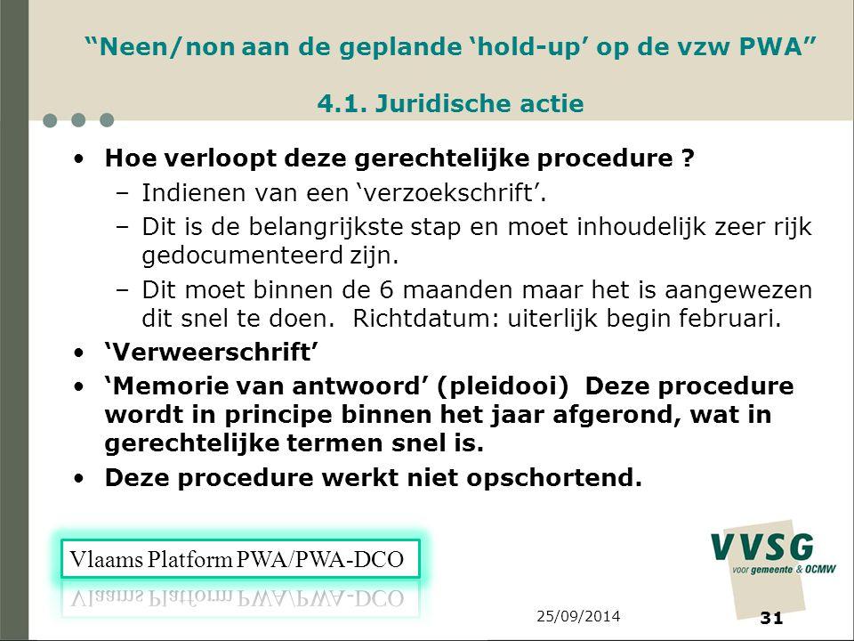 25/09/2014 31 Neen/non aan de geplande 'hold-up' op de vzw PWA 4.1.