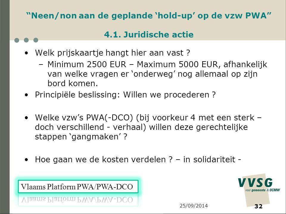 25/09/2014 32 Neen/non aan de geplande 'hold-up' op de vzw PWA 4.1.