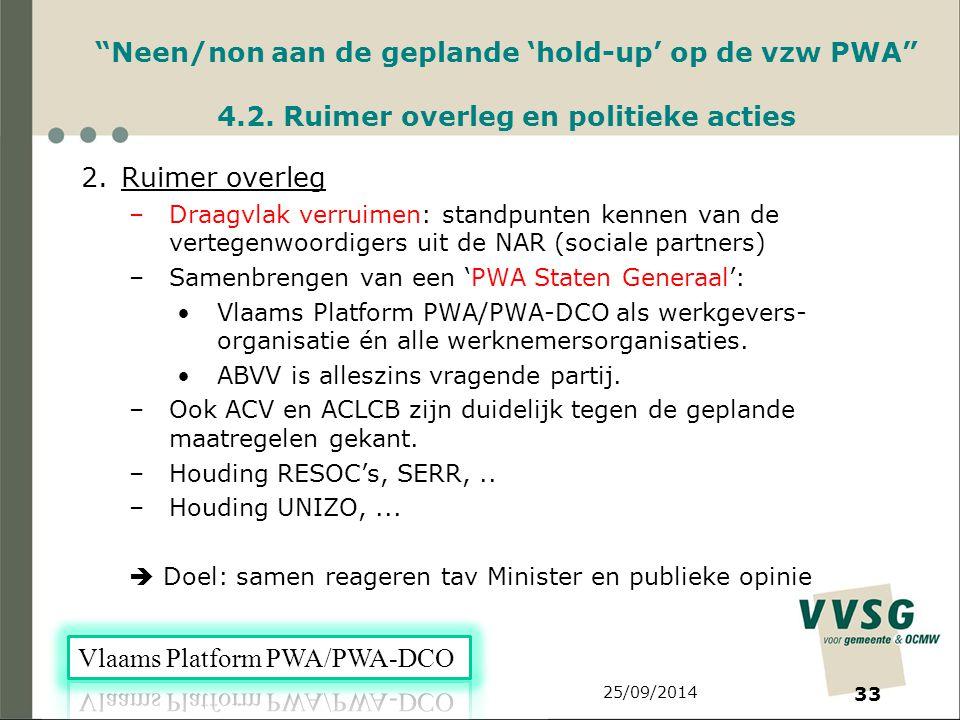 25/09/2014 33 Neen/non aan de geplande 'hold-up' op de vzw PWA 4.2.