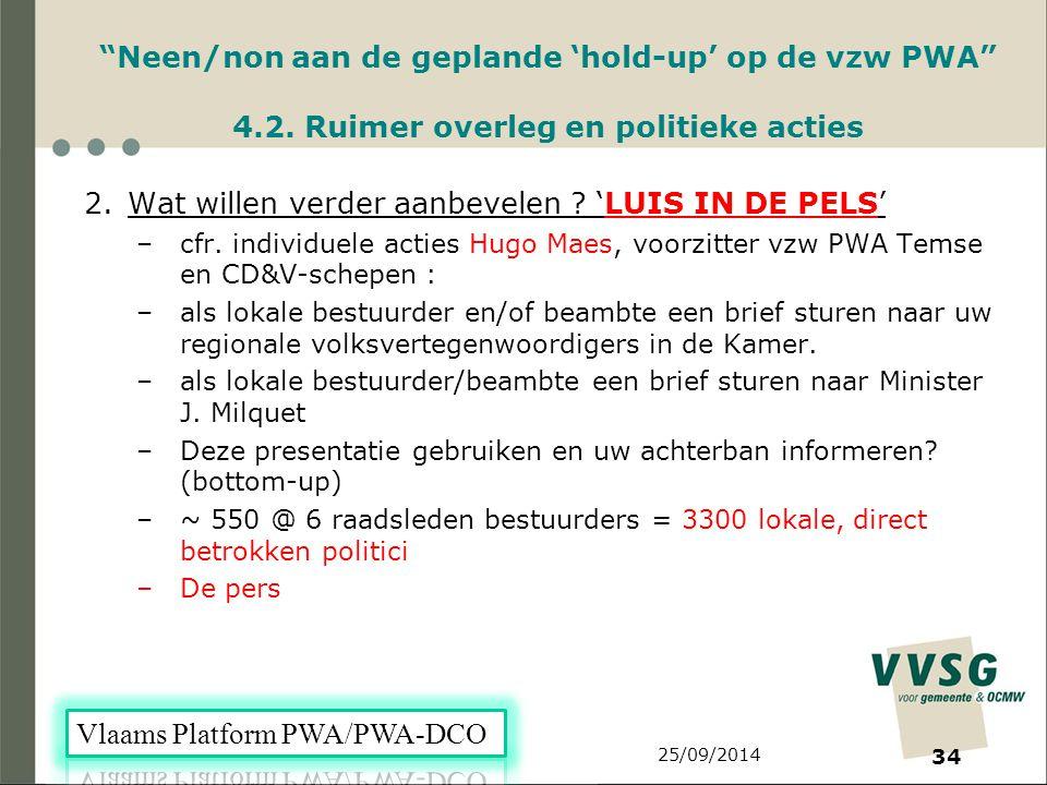25/09/2014 34 Neen/non aan de geplande 'hold-up' op de vzw PWA 4.2.