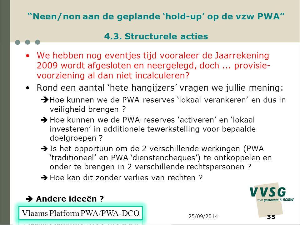 25/09/2014 35 Neen/non aan de geplande 'hold-up' op de vzw PWA 4.3.
