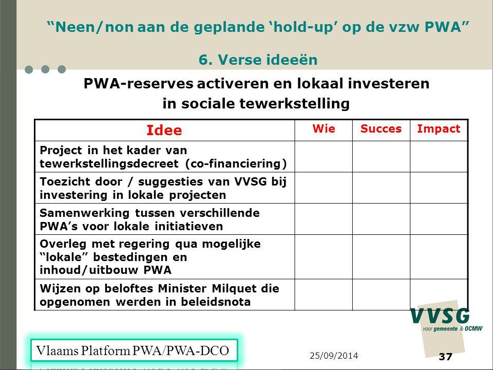 25/09/2014 37 Neen/non aan de geplande 'hold-up' op de vzw PWA 6.