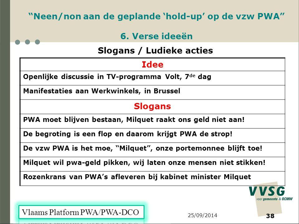 25/09/2014 38 Neen/non aan de geplande 'hold-up' op de vzw PWA 6.