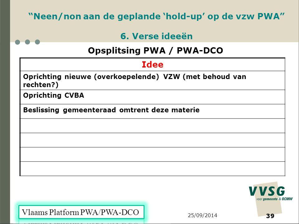 25/09/2014 39 Neen/non aan de geplande 'hold-up' op de vzw PWA 6.