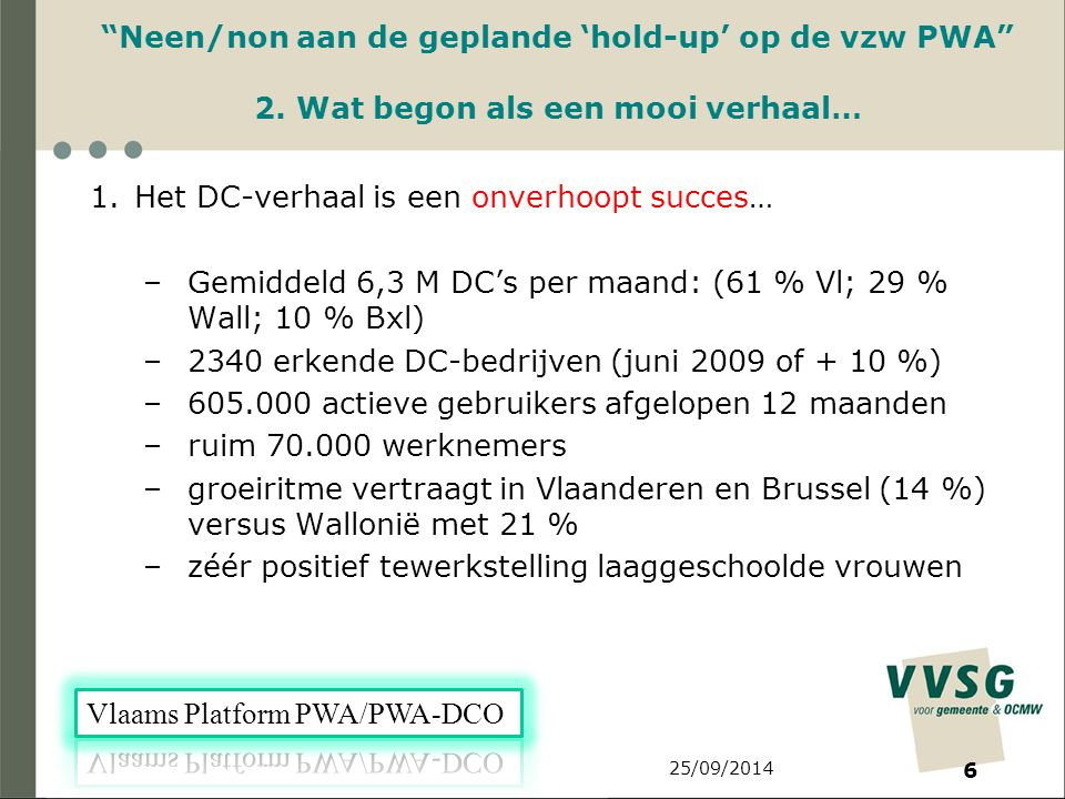 25/09/2014 6 Neen/non aan de geplande 'hold-up' op de vzw PWA 2.