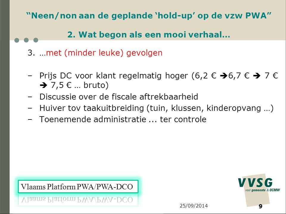 25/09/2014 9 Neen/non aan de geplande 'hold-up' op de vzw PWA 2.