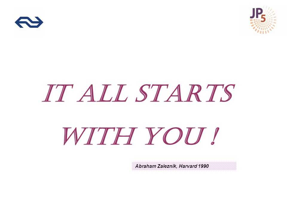 IT ALL STARTS WITH YOU ! Abraham Zaleznik, Harvard 1990