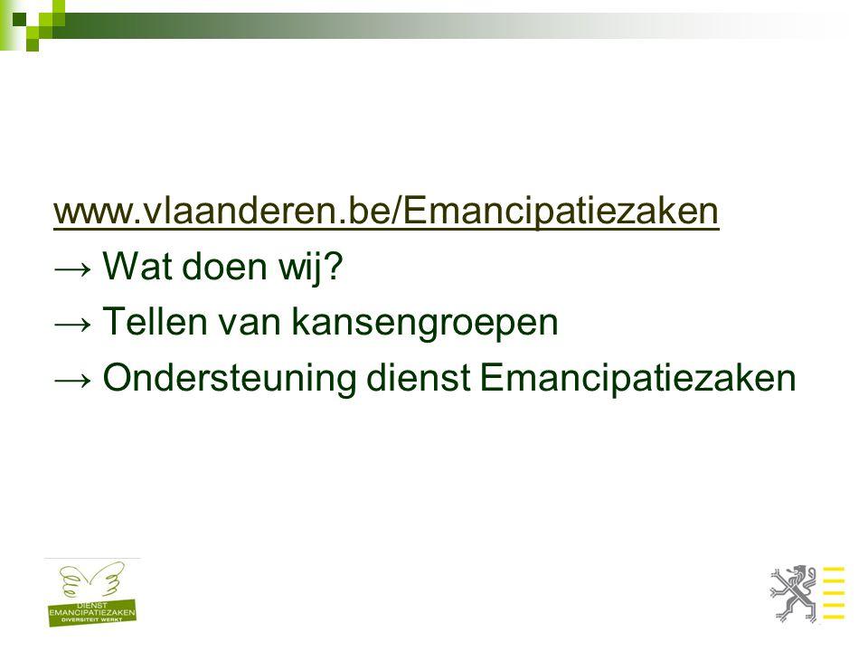 www.vlaanderen.be/Emancipatiezaken → Wat doen wij.