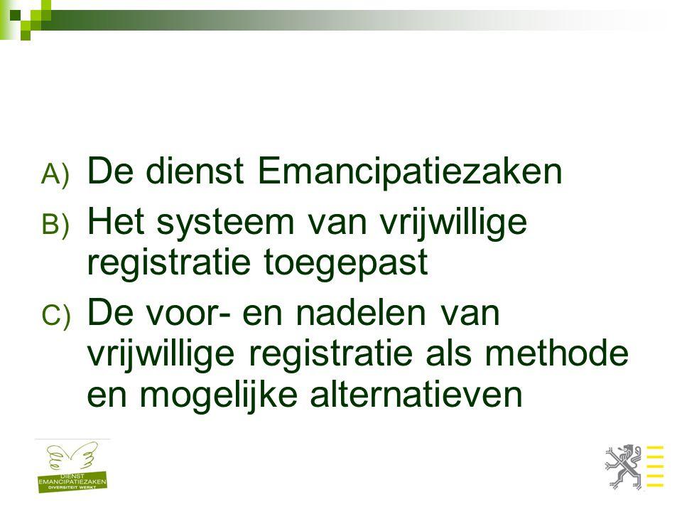 A) De dienst Emancipatiezaken B) Het systeem van vrijwillige registratie toegepast C) De voor- en nadelen van vrijwillige registratie als methode en mogelijke alternatieven