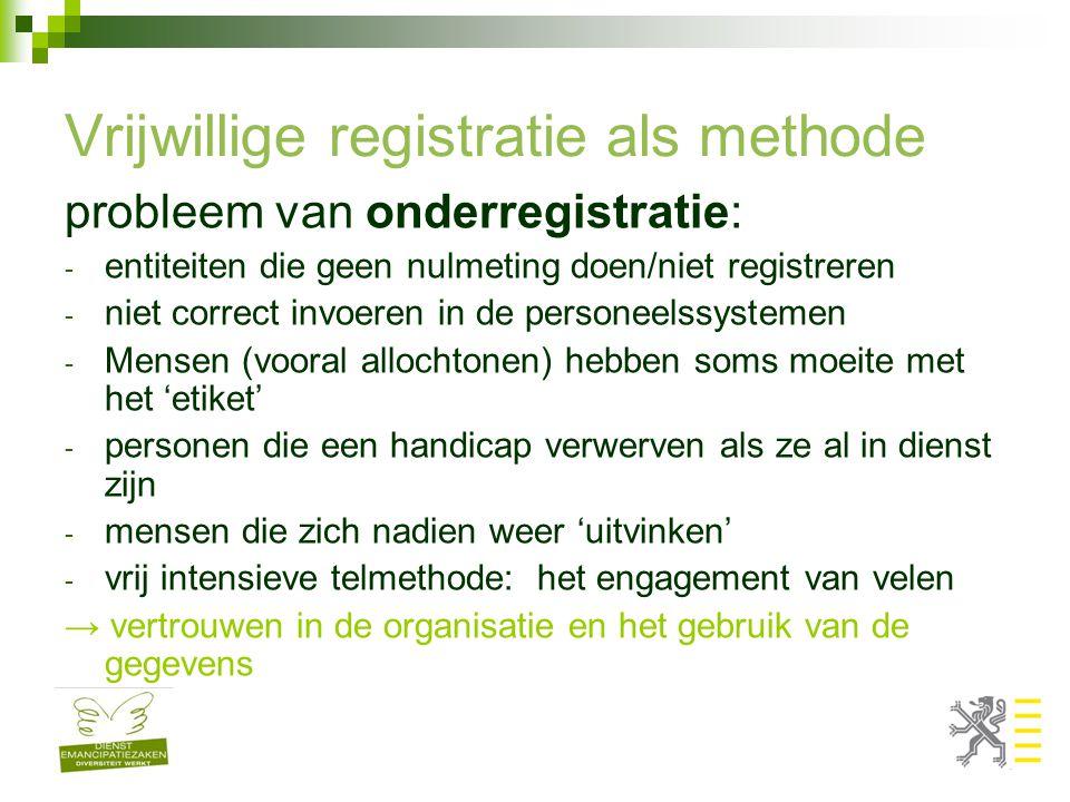 Vrijwillige registratie als methode probleem van onderregistratie: - entiteiten die geen nulmeting doen/niet registreren - niet correct invoeren in de personeelssystemen - Mensen (vooral allochtonen) hebben soms moeite met het 'etiket' - personen die een handicap verwerven als ze al in dienst zijn - mensen die zich nadien weer 'uitvinken' - vrij intensieve telmethode: het engagement van velen → vertrouwen in de organisatie en het gebruik van de gegevens