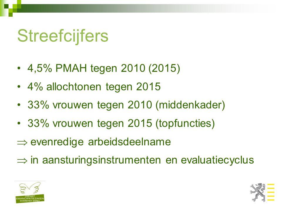 Streefcijfers 4,5% PMAH tegen 2010 (2015) 4% allochtonen tegen 2015 33% vrouwen tegen 2010 (middenkader) 33% vrouwen tegen 2015 (topfuncties)  evenredige arbeidsdeelname  in aansturingsinstrumenten en evaluatiecyclus