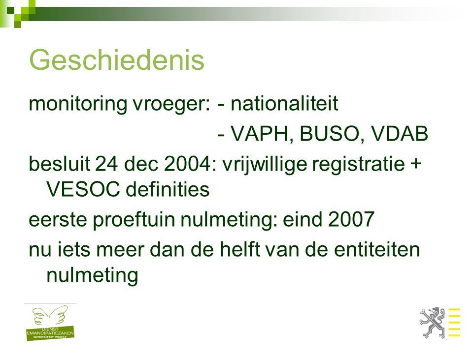 Geschiedenis monitoring vroeger: - nationaliteit - VAPH, BUSO, VDAB besluit 24 dec 2004: vrijwillige registratie + VESOC definities eerste proeftuin nulmeting: eind 2007 nu iets meer dan de helft van de entiteiten nulmeting