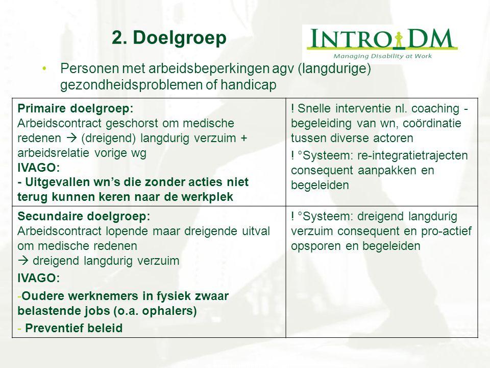 2. Doelgroep Personen met arbeidsbeperkingen agv (langdurige) gezondheidsproblemen of handicap Primaire doelgroep: Arbeidscontract geschorst om medisc