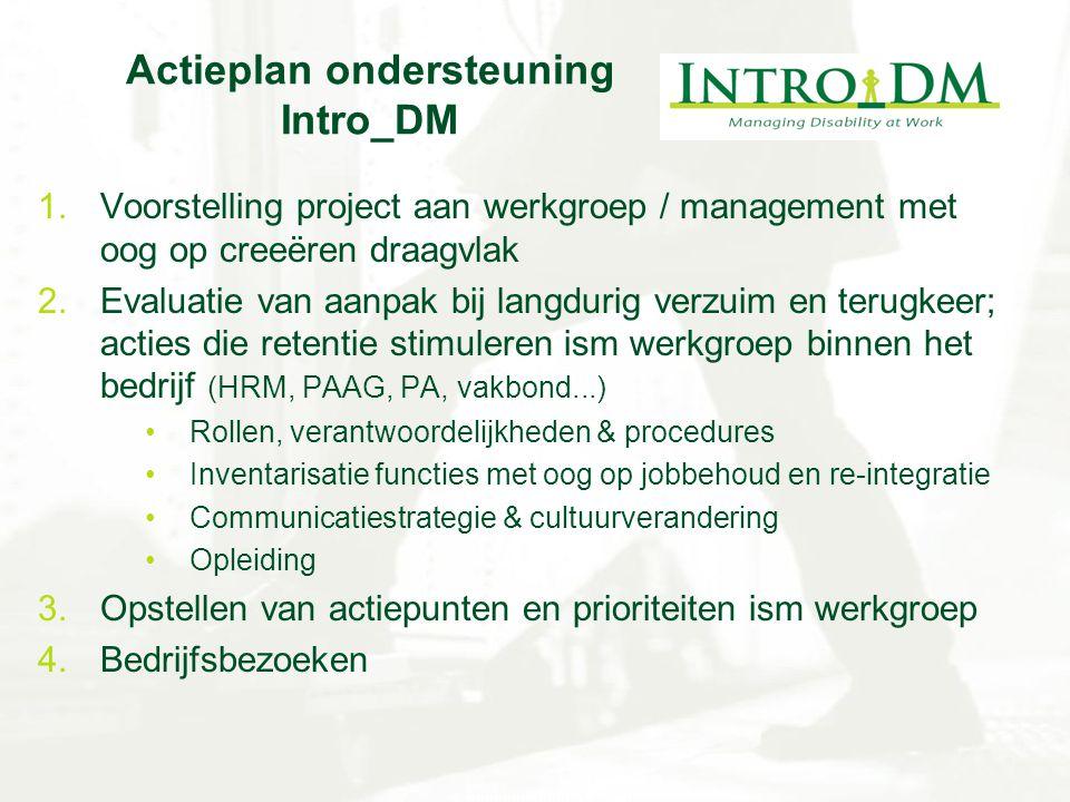 Actieplan ondersteuning Intro_DM 1.Voorstelling project aan werkgroep / management met oog op creeëren draagvlak 2.Evaluatie van aanpak bij langdurig