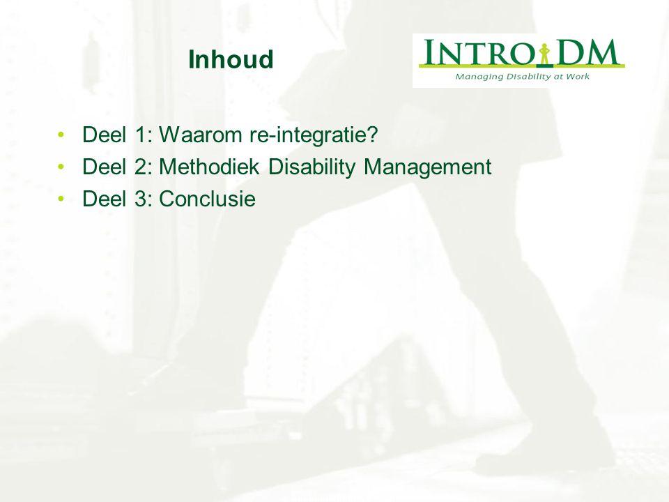 Inhoud Deel 1: Waarom re-integratie? Deel 2: Methodiek Disability Management Deel 3: Conclusie