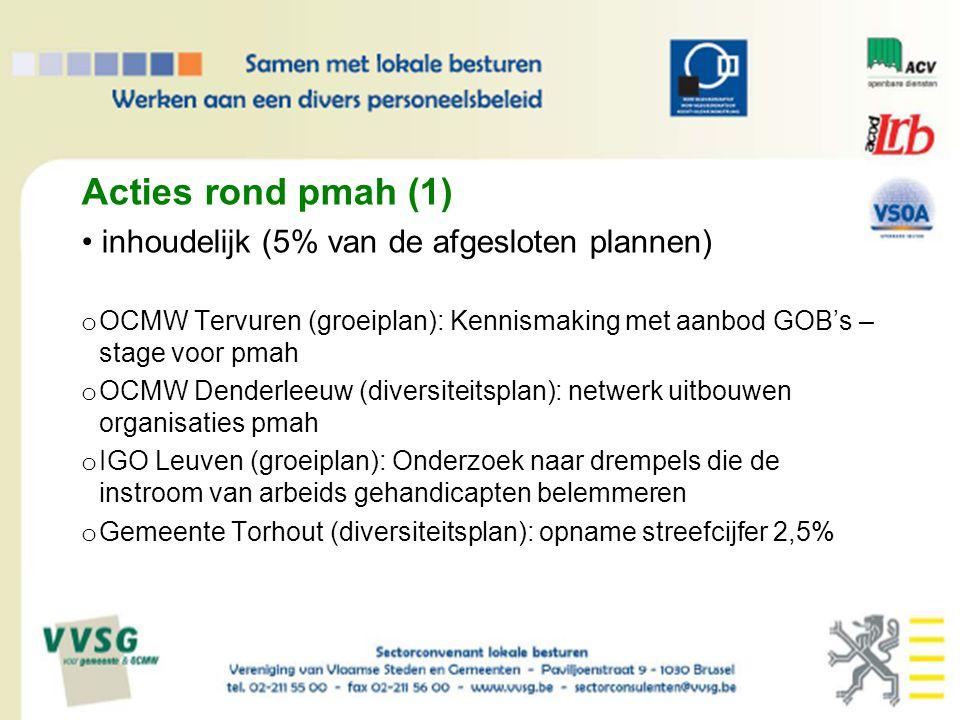 Acties rond pmah (1) inhoudelijk (5% van de afgesloten plannen) o OCMW Tervuren (groeiplan): Kennismaking met aanbod GOB's – stage voor pmah o OCMW Denderleeuw (diversiteitsplan): netwerk uitbouwen organisaties pmah o IGO Leuven (groeiplan): Onderzoek naar drempels die de instroom van arbeids gehandicapten belemmeren o Gemeente Torhout (diversiteitsplan): opname streefcijfer 2,5%