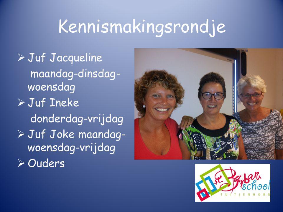 Kennismakingsrondje  Juf Jacqueline maandag-dinsdag- woensdag  Juf Ineke donderdag-vrijdag  Juf Joke maandag- woensdag-vrijdag  Ouders